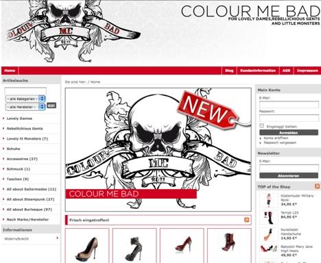 colour me bad screenshot onlineshop. Black Bedroom Furniture Sets. Home Design Ideas