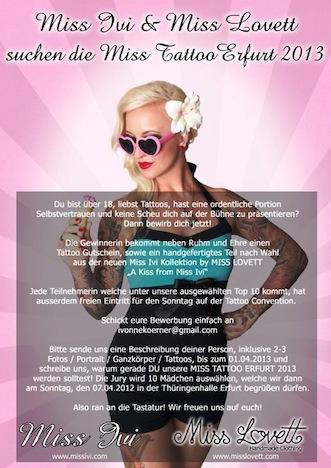 Miss Ivi +Miss Lovett suchen die Miss Tattoo Erfurt 2013