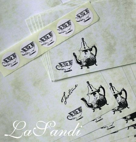 Briefpapier Teatime DaWanda LaSandi