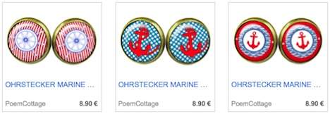 Poem Cottage OhrsteckerMarine Sailor Anker