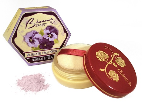 Besame Cosmetics Violet Powdder On-White