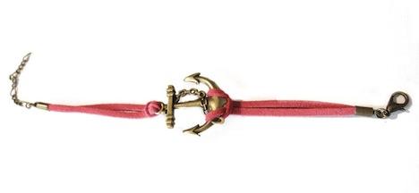 AHOI Armband Anker Wildleder Leder Pink 2