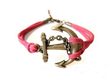 AHOI Armband Anker Wildleder Leder Pink Mrs.Catkin 1