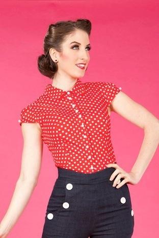 Miss Candyfloss Polka Dot Bluse