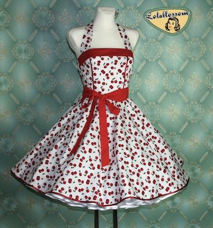 Petticoat Tanzkleid Fuenfziger Jahre Kirschen