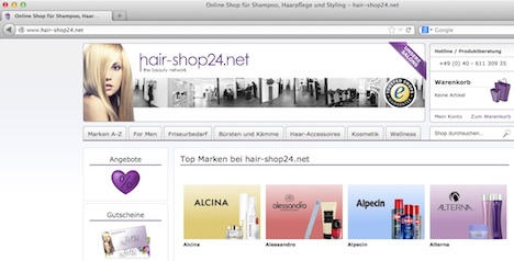 hair-shop24.net Homepage Onlineshop