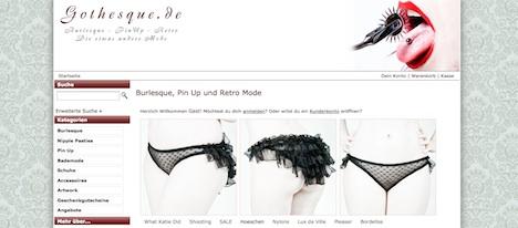 www.gothesque.de Onlineshop Gothesque