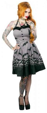 Sourpuss Kleid SPOOKSVILLE BATS grey Buy Unlike