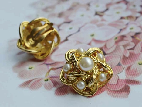 Wunder-Same Vintage intage 50er Perlen Ohrclips Cluster