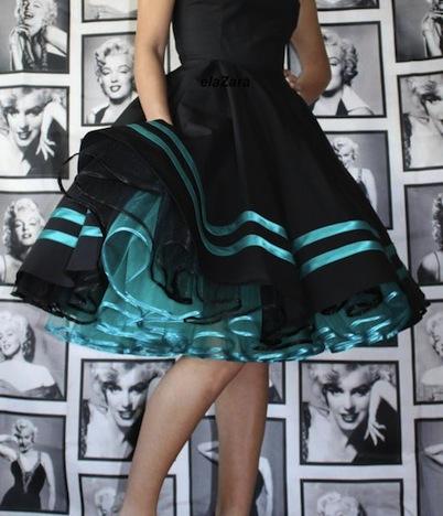 elaZara Petticoatkleid schwarz tuerkis