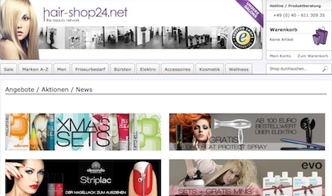 www.hair-shop24.net Homepage Onlineshop