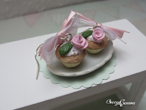 Beccy Lemon Rose Cupcake Ohrhaenger