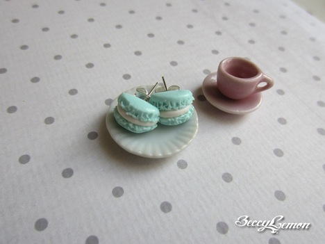 Beccy Lemon Petit Mint Macarone Ohrstecker