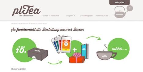 piTea Homepage Onlineshop Abos