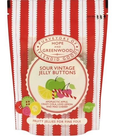 Sour Vintage Jelly Buttons von Hope & Greenwood sind besondere Gummifrüchte aus Großbrittanien mit einer sehr aufwendig gestalteten Verpackung.