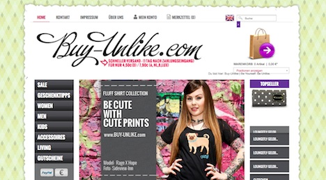 Buy Unlike Onlineshop Webshop Homepage