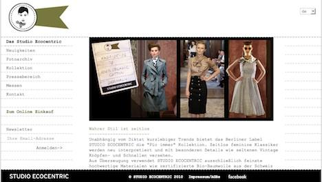 STUDIO ECOCENTRIC Onlineshop Homepage