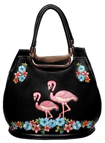 Banned Handtasche Flamingo schwarz Stickerei