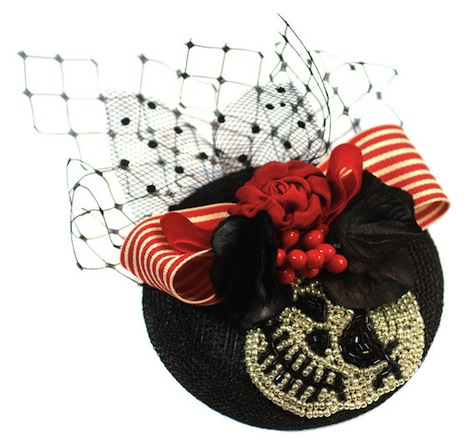 Jazafine Billies Fascinator Rockabella Huetchen Headpiece Totenkopf