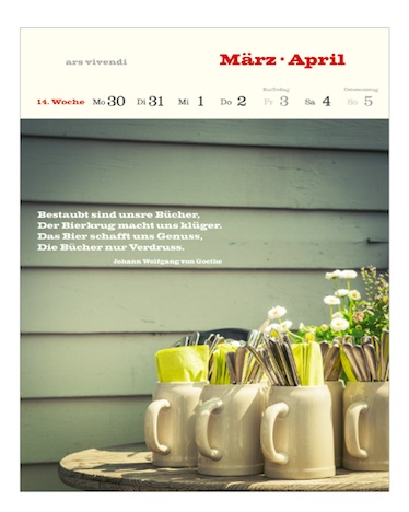 Literarischer Bier Kalender 2015  ars vivendi Verlag 14.Woche Maerz April