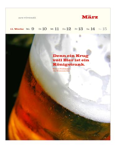 Literarischer Bier Kalender 2015  ars vivendi Verlag Maerz 11.Woche