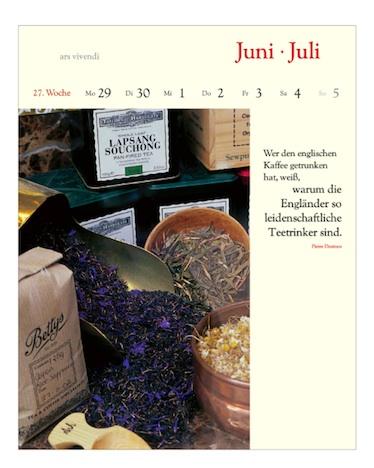 Literarischer Tee Kalender ars vivendi 2015 Juni Juli