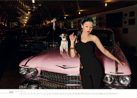 US CARS & GIRLS 2015 Kalender Henry Hund July
