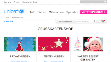 Unicef Grusskarten-Shop Homepage