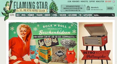 Flaming star Homepage Onlineshop Webshop