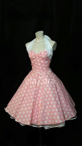 elaZara  Abiballkleid _Jugendweihe im Stil der 50er Jahre rosa weiß gepunktet