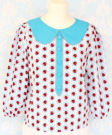 Cherry Picking Miss Betty Sue Schnittmuster + Beispiel Bluse Bubikragen Knopfleiste