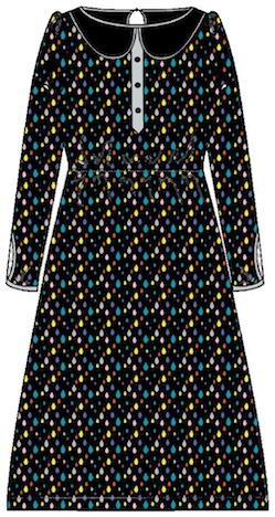Cherry Picking Miss Betty Sue Schnittmuster + Beispiel Kleid Bubikragen Knopfleiste technische Zeichnung Comic Drop