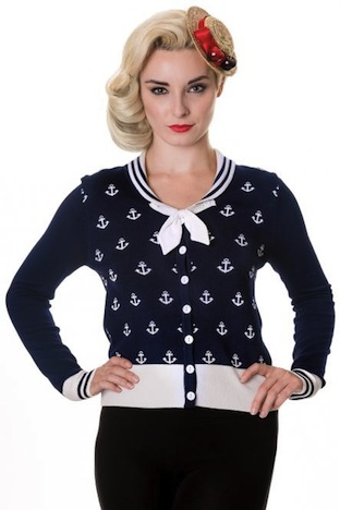 Banned Cardigan Small Anchors dunkelblau