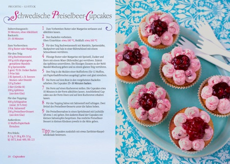 Dr.Oetker Cupcakes & Muffins Set Doppelseite Rezeptbuch schwedische Preiselbeer-Cupcakes