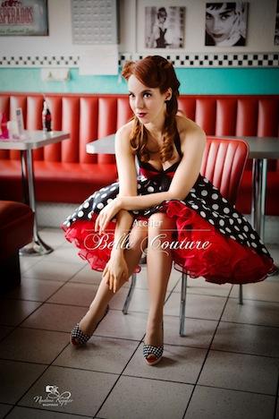 Atelier Belle Coture 50er Jahre Rockabilly Petticoatkleid  Polka Dots Petticoat WT4A4408-3