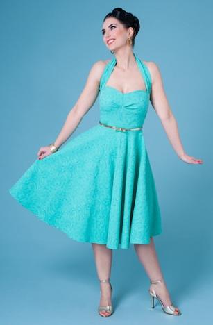 Frozen Hibiscus Petticoatkleid Neckholderkleid Gina Vintage Stil 50er Jahre