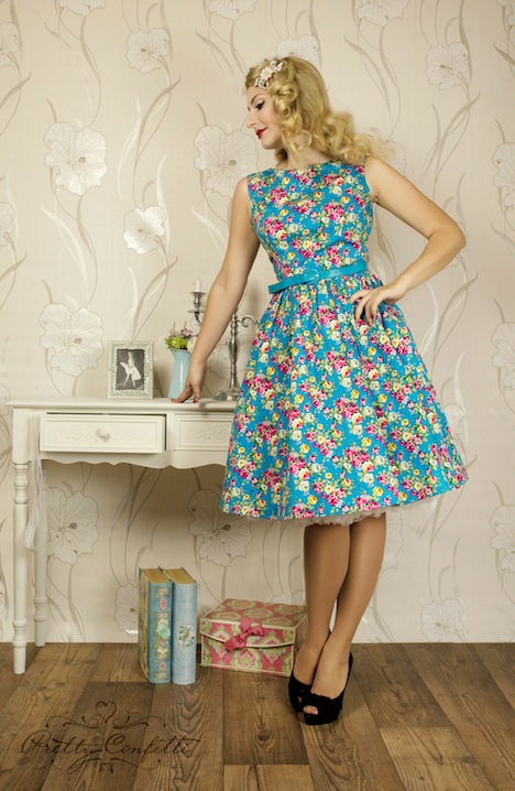 Pretty Confetti audrey-vintage-floral-rockabilly-pinup-swing-dress-model
