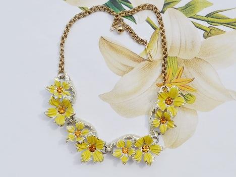 Wunder-Same Vintage Schmuck Kette Blumen gelb