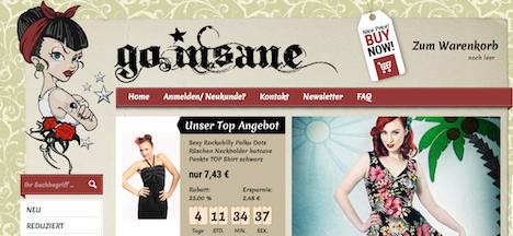 go.insane. onlineshop webshop neu