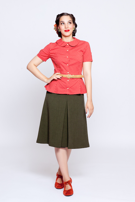 Frozen Hibiscus Fabulous Forties Herbst Winter 2015 2016 Rita Blouse-Eleanor Skirt Outfit front