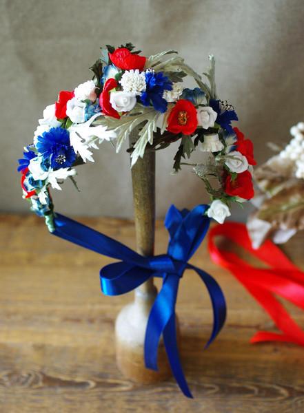 Jazzafine Mariechen Bluetenkraenzchen Blumenkranz Headpiece Kopfschmuck Mohnblumen rot blau weiß
