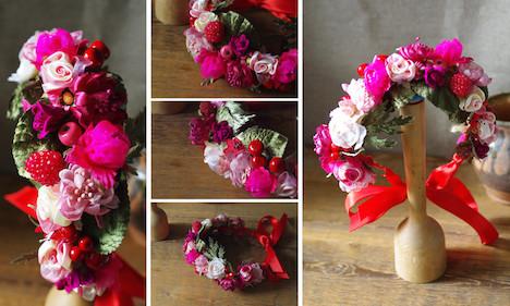 Jazzafine pink Beeren Blaetter Bluetenkraenzchen Kranz Blumen Rosalinda Blueten