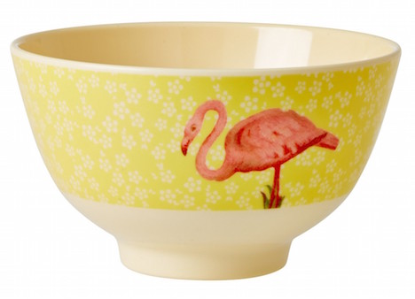 nik rice-melamin-schuessel-flower-flamingo-gelb-melbw-syflam