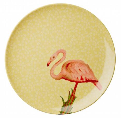 nik rice-melamin-teller-flower-flamingo-gelb-mespl-yflam