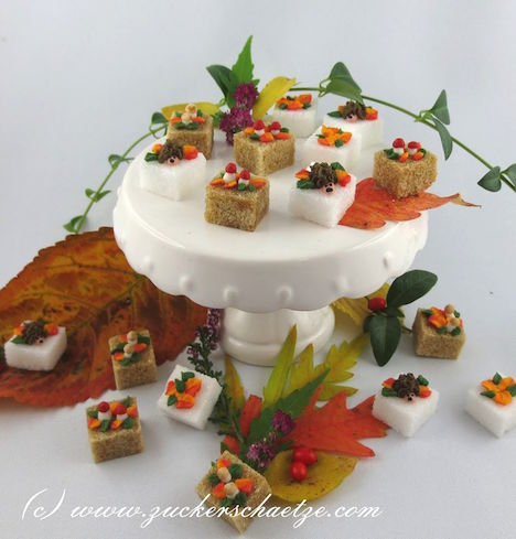 Zuckerschaetze Herbst Zucker Zuckerstuecke Igel Pilze Blaetter DaWanda-Shop