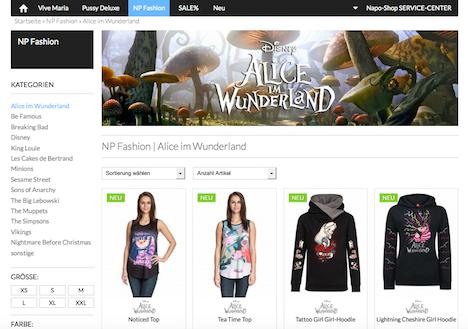 Napo Shop NP Fashion Nastrovje Potsdam Alice im Wunderland
