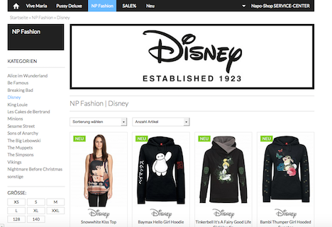 Napo Shop NP Fashion Nastrovje Potsdam Disney
