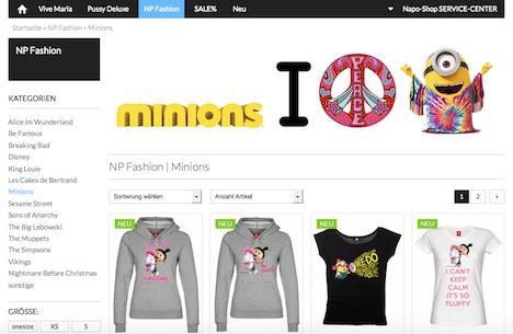 Napo Shop NP Fashion Nastrovje Potsdam Minions
