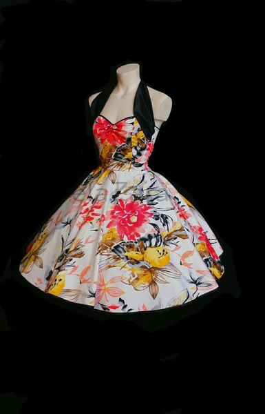 elaZara Petticoatkleid weiß schwarz Blumen