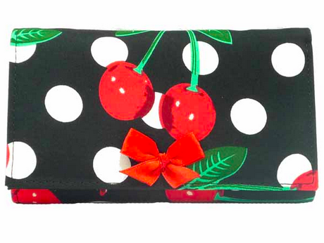go.insane retro Kirschen Polka Dots rockabilly Cherry Bow Geldboerse Geldbeutel 1